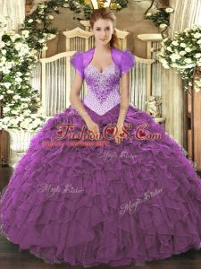 Smart Eggplant Purple Ball Gowns Beading and Ruffles Sweet 16 Dress Lace Up Organza Sleeveless Floor Length