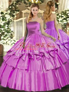 Top Selling Sleeveless Lace Up Floor Length Ruffled Layers Quinceanera Dresses
