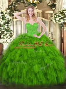 Trendy Sleeveless Floor Length Beading and Ruffles Lace Up Quinceanera Dress with Green