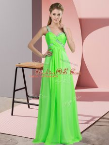 Amazing Floor Length Lace Up Custom Made Green for Prom and Party with Beading