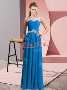 Luxurious Blue Empire Beading Party Dress for Toddlers Clasp Handle Chiffon Sleeveless Floor Length