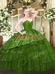Dramatic Green Ball Gowns Embroidery and Ruffled Layers Sweet 16 Dresses Zipper Organza and Taffeta Sleeveless Floor Length