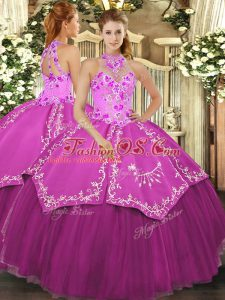 Fantastic Ball Gowns Sweet 16 Dresses Fuchsia Halter Top Satin and Tulle Sleeveless Floor Length Lace Up