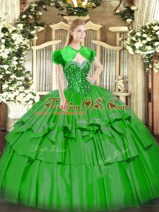 Organza and Taffeta Sleeveless Floor Length Sweet 16 Dresses and Beading and Ruffled Layers