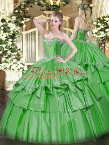 Edgy Sweetheart Sleeveless 15th Birthday Dress Floor Length Beading and Ruffled Layers Green Organza and Taffeta