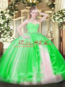 Fitting Green Sleeveless Beading and Lace and Ruffles Floor Length Sweet 16 Dress