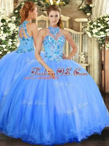 Top Selling Sleeveless Floor Length Embroidery Lace Up Sweet 16 Dresses with Blue
