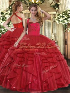 Wine Red Tulle Lace Up Halter Top Sleeveless Floor Length Quince Ball Gowns Ruffles