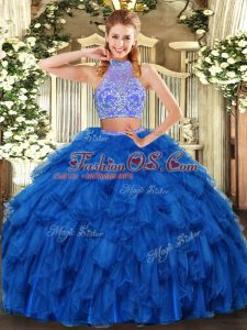 On Sale Royal Blue Sleeveless Beading and Ruffles Floor Length Sweet 16 Dress