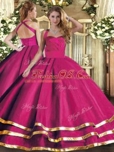 Halter Top Sleeveless Quinceanera Gown Floor Length Ruffled Layers Hot Pink Tulle