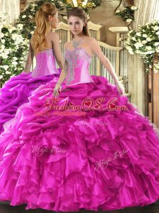 Superior Beading and Ruffles and Pick Ups Quinceanera Dress Hot Pink Lace Up Sleeveless Floor Length