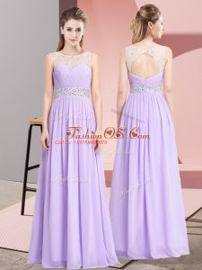 Custom Design Lavender Chiffon Lace Up Scoop Sleeveless Floor Length Prom Dress Beading