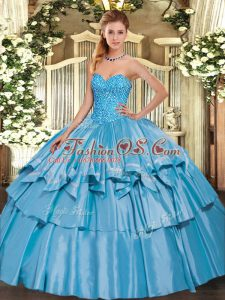 Baby Blue Ball Gowns Sweetheart Sleeveless Organza and Taffeta Floor Length Lace Up Beading and Ruffled Layers Sweet 16 Dresses