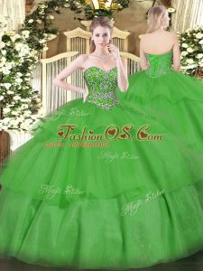 Green Lace Up Vestidos de Quinceanera Beading and Ruffled Layers Sleeveless Floor Length