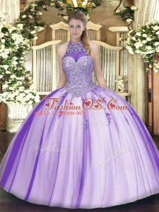 Fashionable Halter Top Sleeveless Sweet 16 Quinceanera Dress Floor Length Beading and Appliques Lavender Tulle
