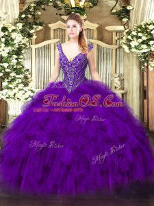 Glittering Floor Length Purple Sweet 16 Dresses V-neck Sleeveless Lace Up