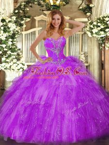 Glamorous Eggplant Purple Organza Lace Up Quinceanera Dresses Sleeveless Floor Length Beading and Ruffles