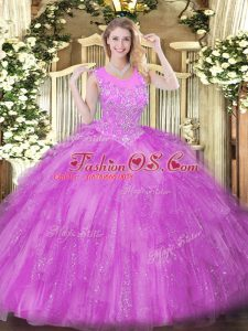 Dazzling Lilac Ball Gown Prom Dress Military Ball and Sweet 16 and Quinceanera with Beading and Ruffles Scoop Sleeveless Zipper