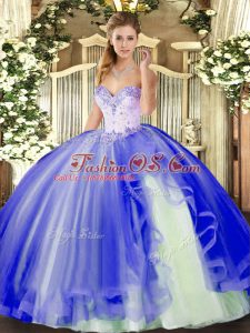Beading and Ruffles 15th Birthday Dress Blue Lace Up Sleeveless Floor Length