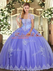 Lavender Strapless Neckline Appliques 15 Quinceanera Dress Sleeveless Lace Up