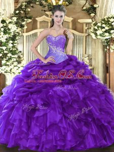 Floor Length Lace Up Sweet 16 Quinceanera Dress Purple for Military Ball and Sweet 16 and Quinceanera with Beading and Ruffles and Pick Ups