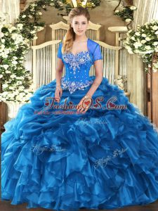 Floor Length Lace Up 15 Quinceanera Dress Blue for Military Ball and Sweet 16 and Quinceanera with Beading and Ruffles and Pick Ups