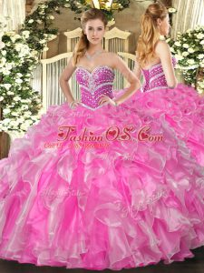 Suitable Rose Pink Sweetheart Neckline Beading and Ruffles 15 Quinceanera Dress Sleeveless Lace Up