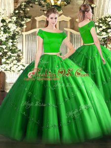 Green Zipper Off The Shoulder Appliques 15 Quinceanera Dress Tulle Short Sleeves