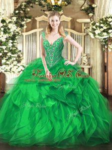 Captivating Organza Sleeveless Floor Length 15 Quinceanera Dress and Beading and Ruffles