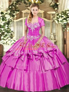 Enchanting Lilac Organza and Taffeta Lace Up Sweet 16 Quinceanera Dress Sleeveless Floor Length Beading and Ruffled Layers