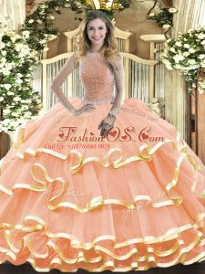 Peach Sleeveless Beading and Ruffled Layers Floor Length Quinceanera Dress