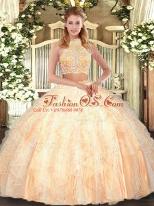 Peach Two Pieces Beading and Ruffles Quinceanera Gown Criss Cross Tulle Sleeveless Floor Length