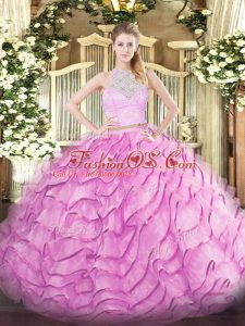 High End Rose Pink 15th Birthday Dress Scoop Sleeveless Brush Train Zipper
