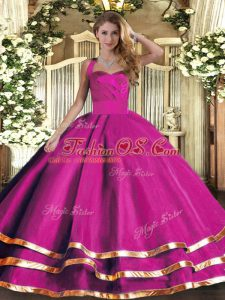 Admirable Fuchsia Quince Ball Gowns Military Ball and Sweet 16 and Quinceanera with Ruffled Layers Halter Top Sleeveless Lace Up
