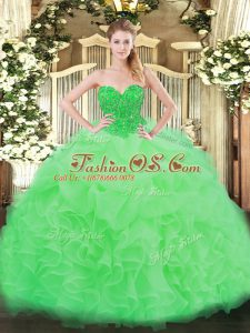 Apple Green Sweetheart Lace Up Ruffles Ball Gown Prom Dress Sleeveless