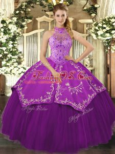 Eggplant Purple Lace Up Quinceanera Gowns Beading and Embroidery Sleeveless Floor Length