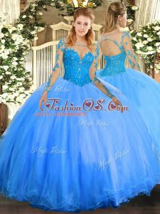 Baby Blue Ball Gowns Tulle Scoop Long Sleeves Lace Floor Length Lace Up Quince Ball Gowns