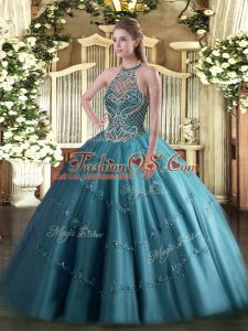 Free and Easy Floor Length Lace Up Quinceanera Dress Teal for Sweet 16 and Quinceanera with Beading