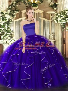 Vintage Floor Length Zipper Ball Gown Prom Dress Blue for Military Ball and Sweet 16 and Quinceanera with Ruffles