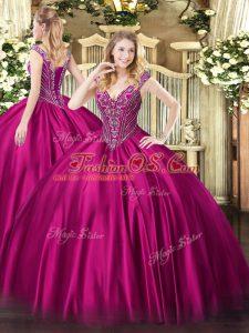 Clearance Fuchsia Satin Lace Up Sweet 16 Quinceanera Dress Sleeveless Floor Length Beading