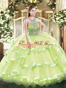 Sumptuous Yellow Green Sleeveless Beading and Ruffled Layers Floor Length Quinceanera Dress