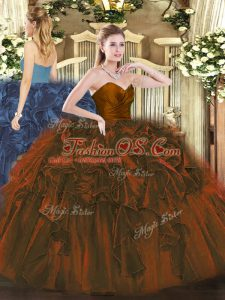 Brown Organza Zipper Quinceanera Dresses Sleeveless Floor Length Ruffles