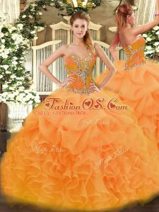 Luxurious Ball Gowns Quinceanera Dresses Orange Sweetheart Organza Sleeveless Floor Length Lace Up