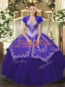 Hot Sale Floor Length Lace Up Vestidos de Quinceanera Purple for Military Ball and Sweet 16 and Quinceanera with Beading and Embroidery