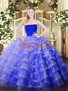 Perfect Blue Strapless Neckline Ruffled Layers 15th Birthday Dress Sleeveless Zipper
