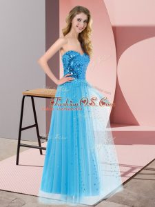 Discount Sleeveless Tulle Floor Length Lace Up Custom Made in Blue with Sequins