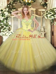 Suitable Light Yellow Tulle Lace Up V-neck Sleeveless Floor Length Quinceanera Dress Beading