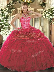 Custom Designed Floor Length Red Ball Gown Prom Dress Organza Sleeveless Beading and Ruffles