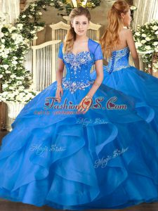 Charming Baby Blue Sleeveless Floor Length Beading and Ruffles Lace Up Quinceanera Gown