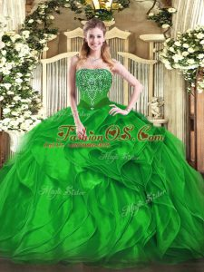 Green Strapless Neckline Beading and Ruffles Quinceanera Dress Sleeveless Lace Up